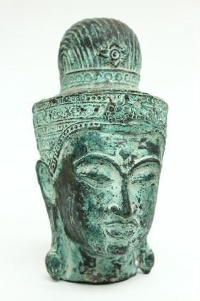 Khmer Bronze Buddha Head,