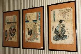 Three Japanese Meiji Period Woodblock Prints