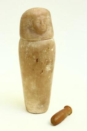 Egyptian Alabaster Canopic Jar and Ampule,