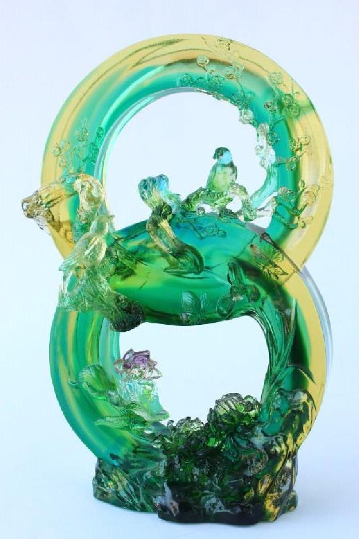 Large Chinese Tittot Art Glass Figure Group,