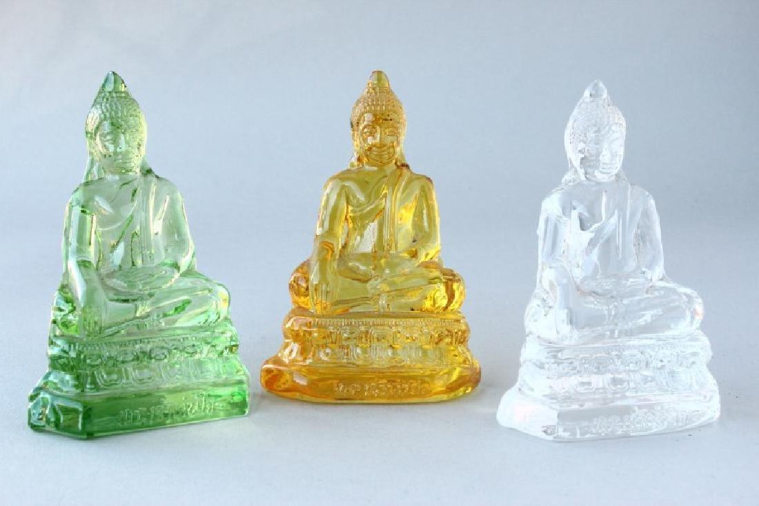 Three Colourful Chinese Glass Buddhas,