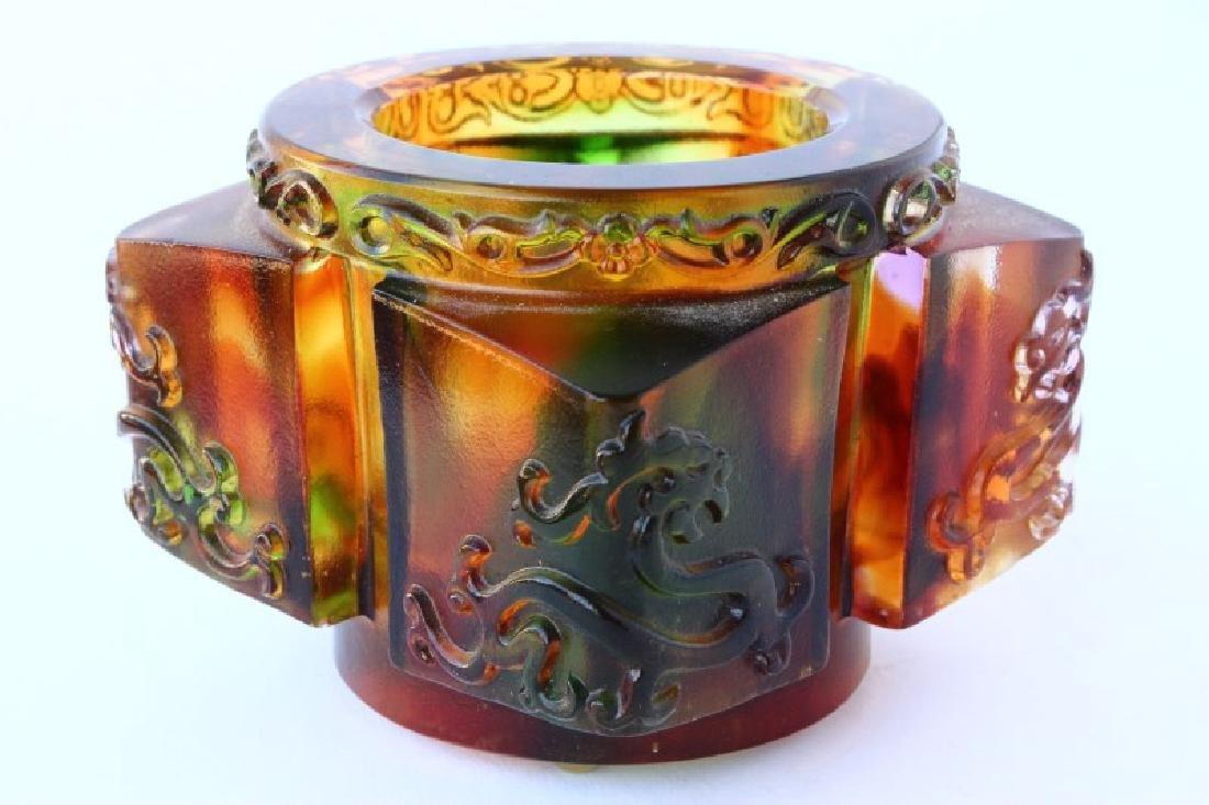 Chinese Tittot Art Glass Cong,