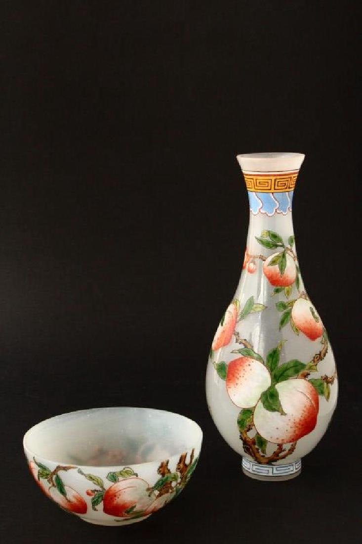 Chinese Painted Enamel Glass Vase and Bowl