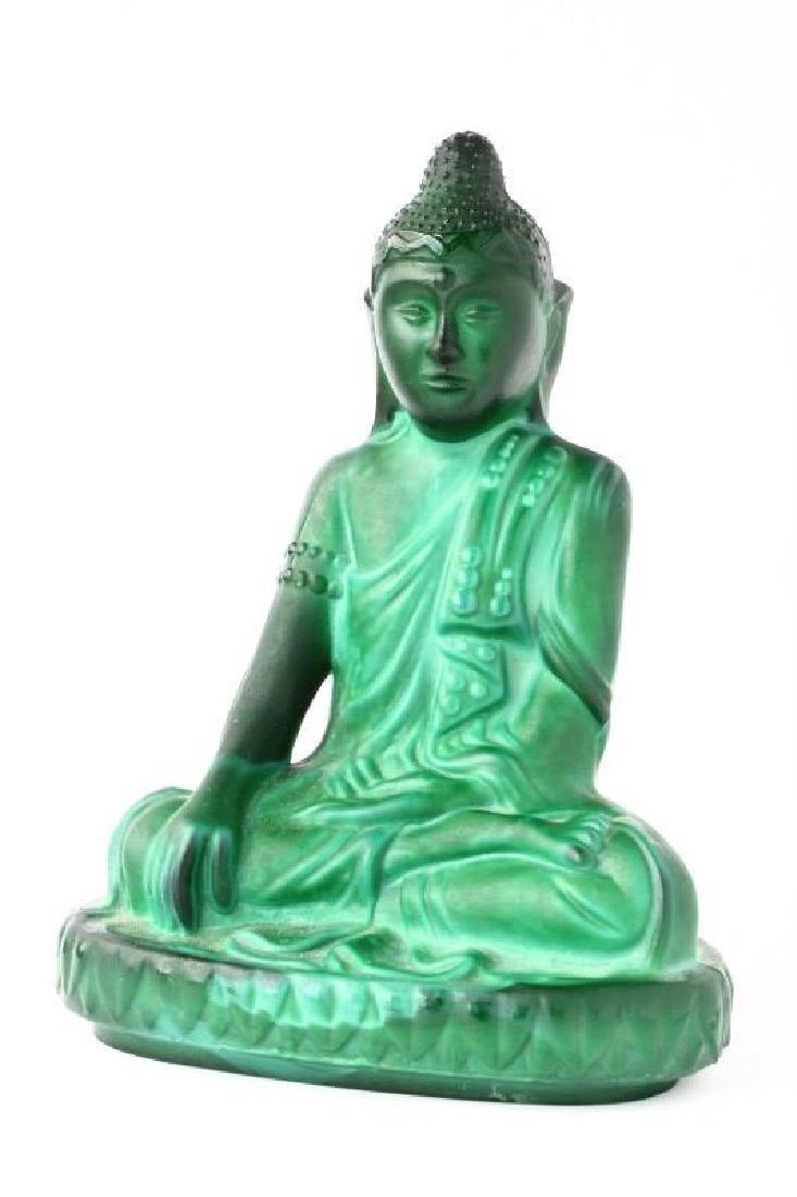 Chinese Malachite Glass Buddha,