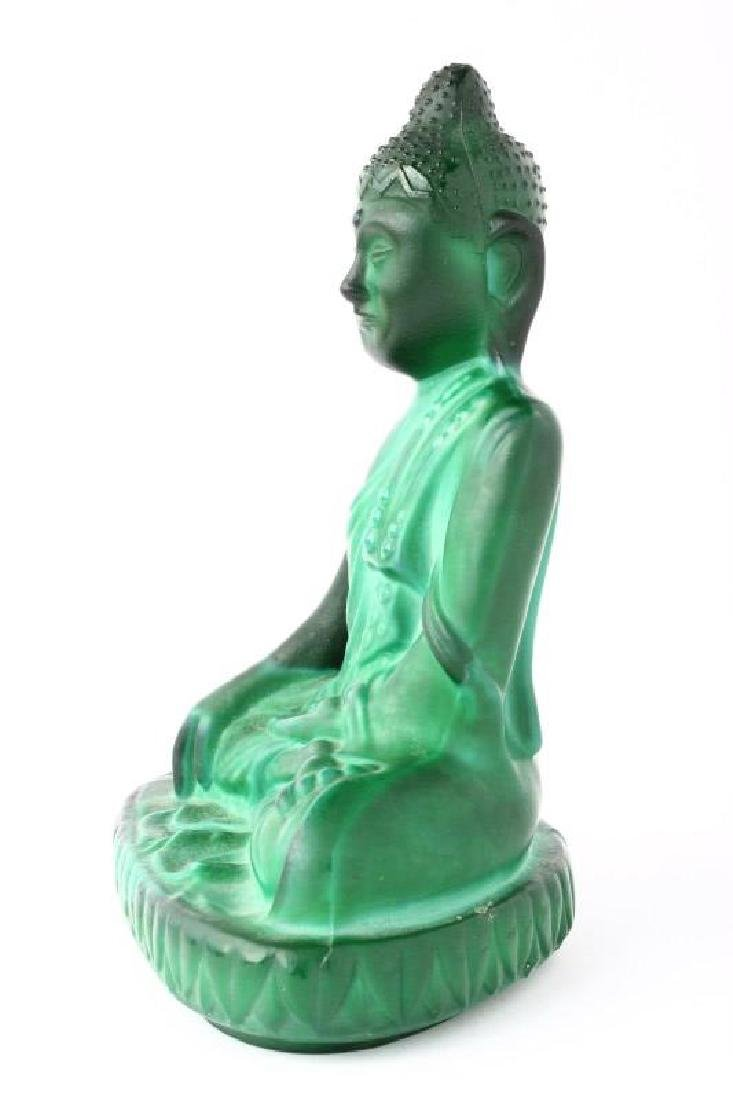 Chinese Malachite Glass Buddha, - 2