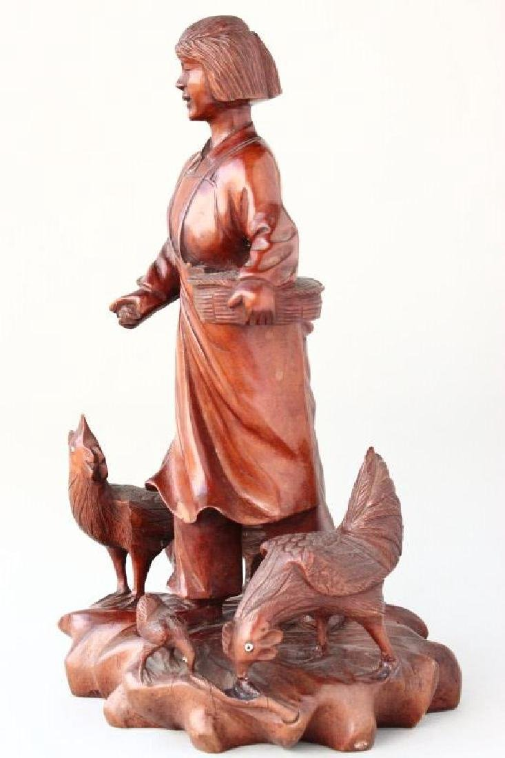 Chinese Carved Wooden Figure Group, - 2