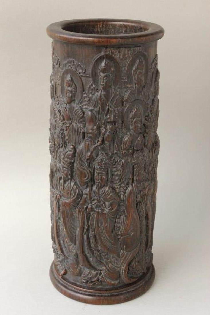 Chinese Carved Brush Pot, - 2