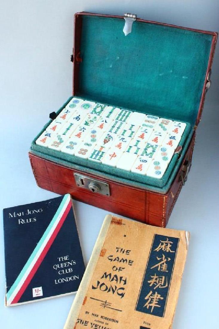 Chinese Bone Mah Jong Set & Books
