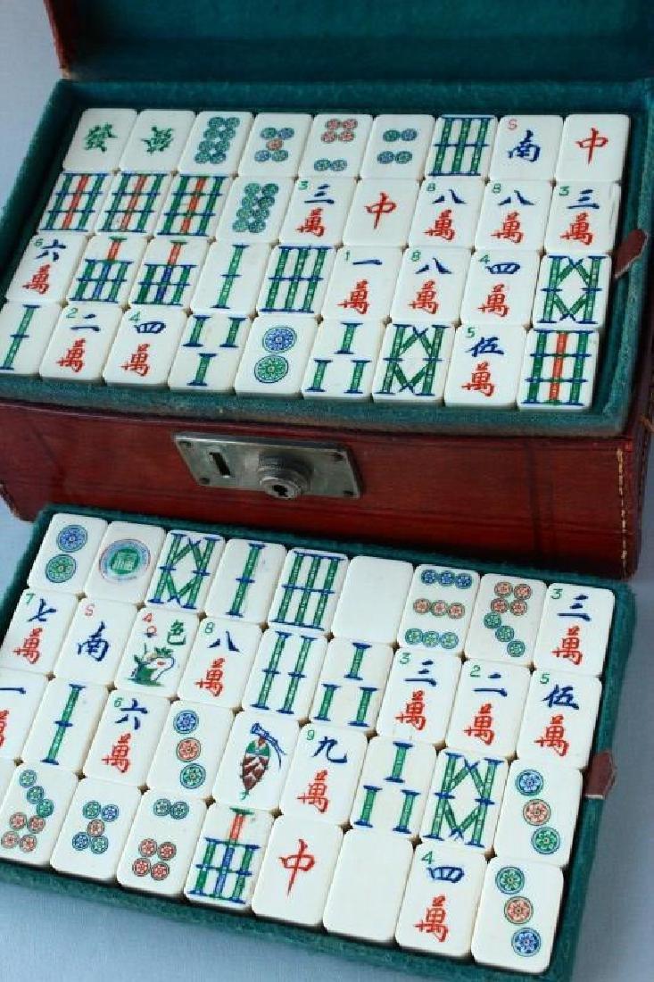 Chinese Bone Mah Jong Set & Books - 2