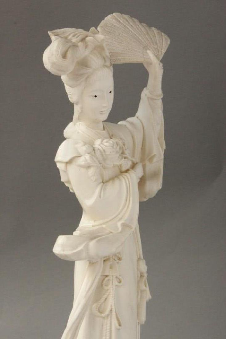 Japanese Carved Figure of Kwan Yin, - 3