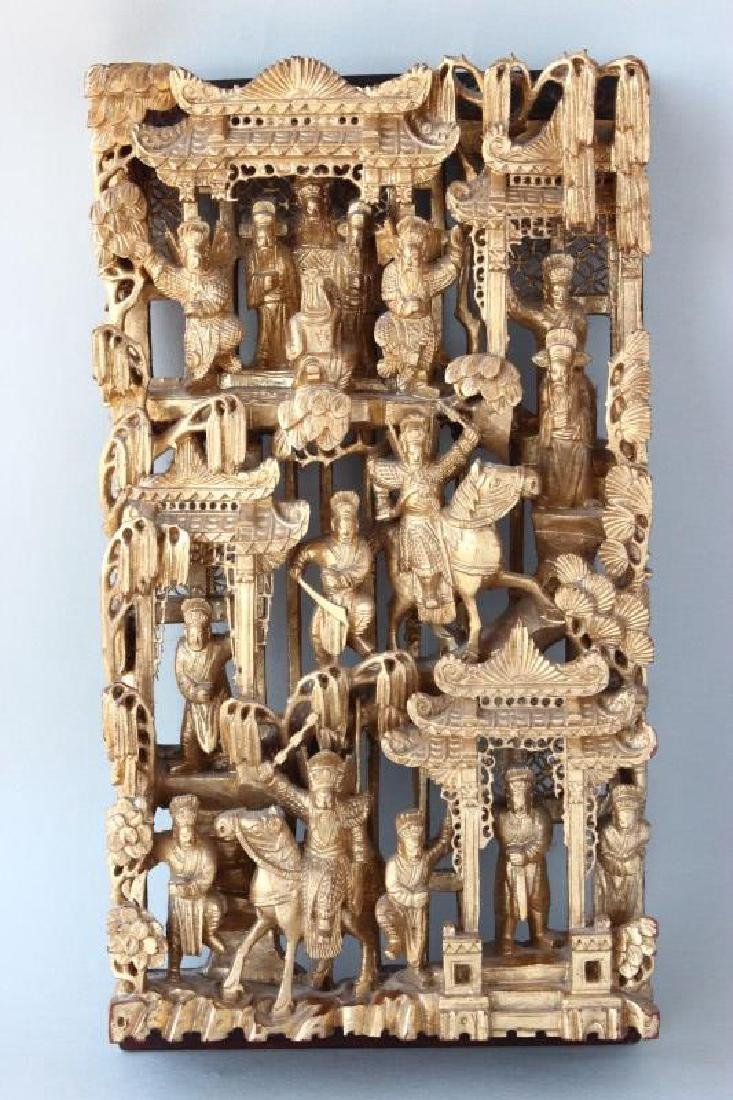 Good Chinese Gilt Wood Carved Panel,