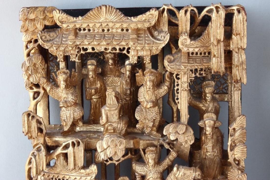 Good Chinese Gilt Wood Carved Panel, - 2