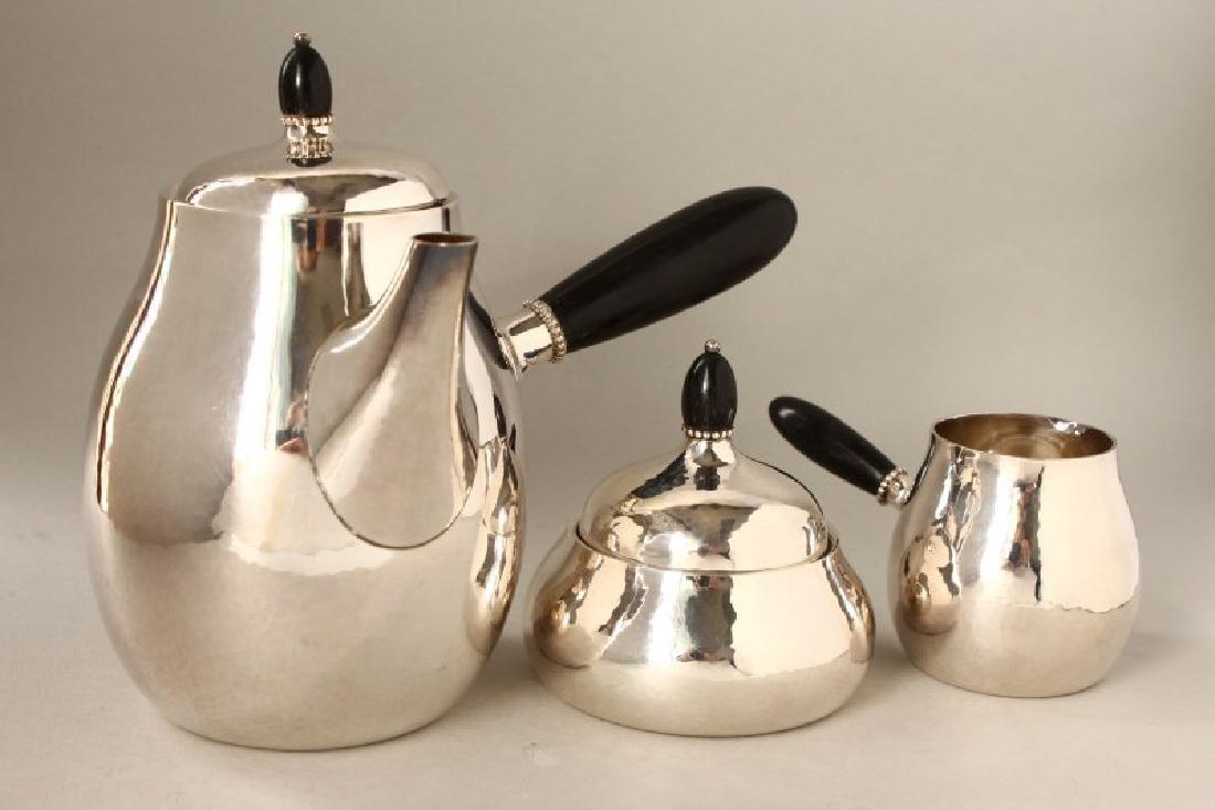 Georg Jensen Three Piece Silver Tea Set, c.1945