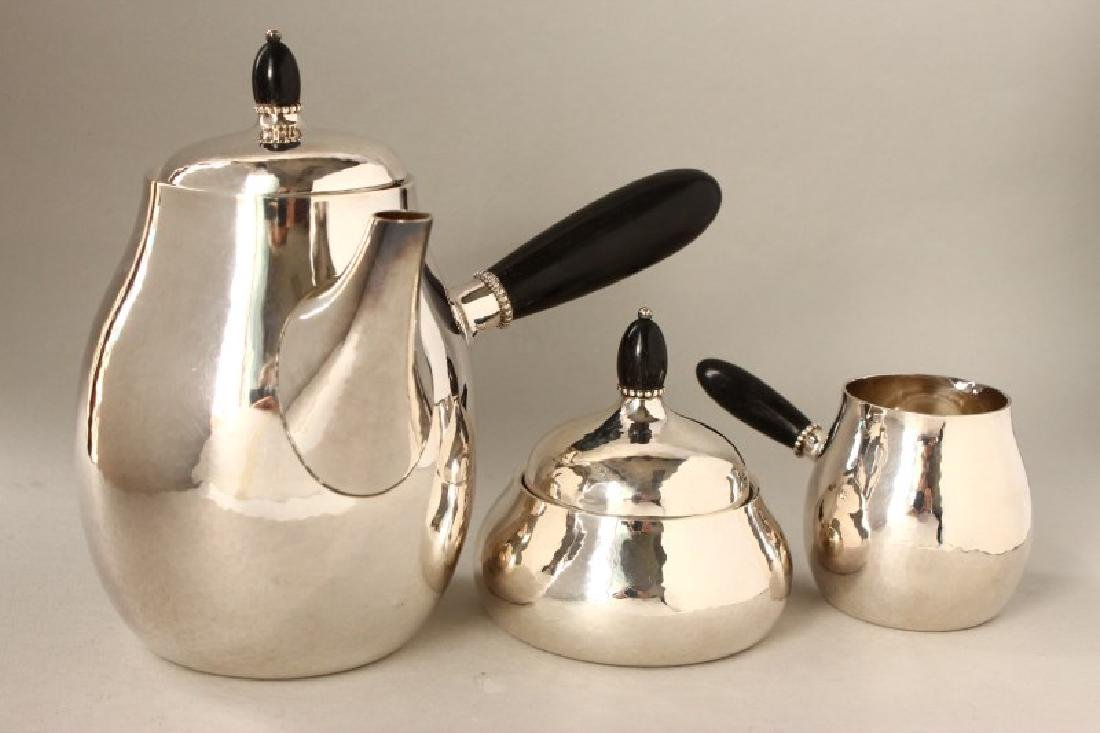 Georg Jensen Three Piece Silver Tea Set, c.1945