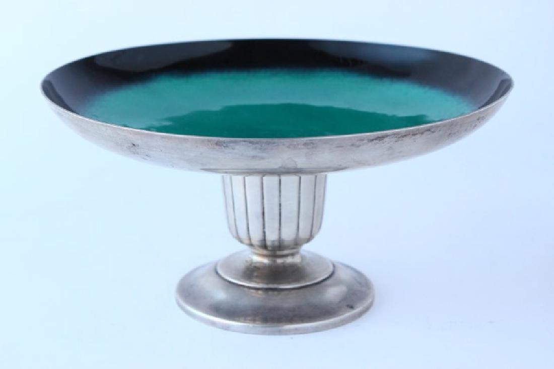 American Sterling Silver and Enamel Tazza,