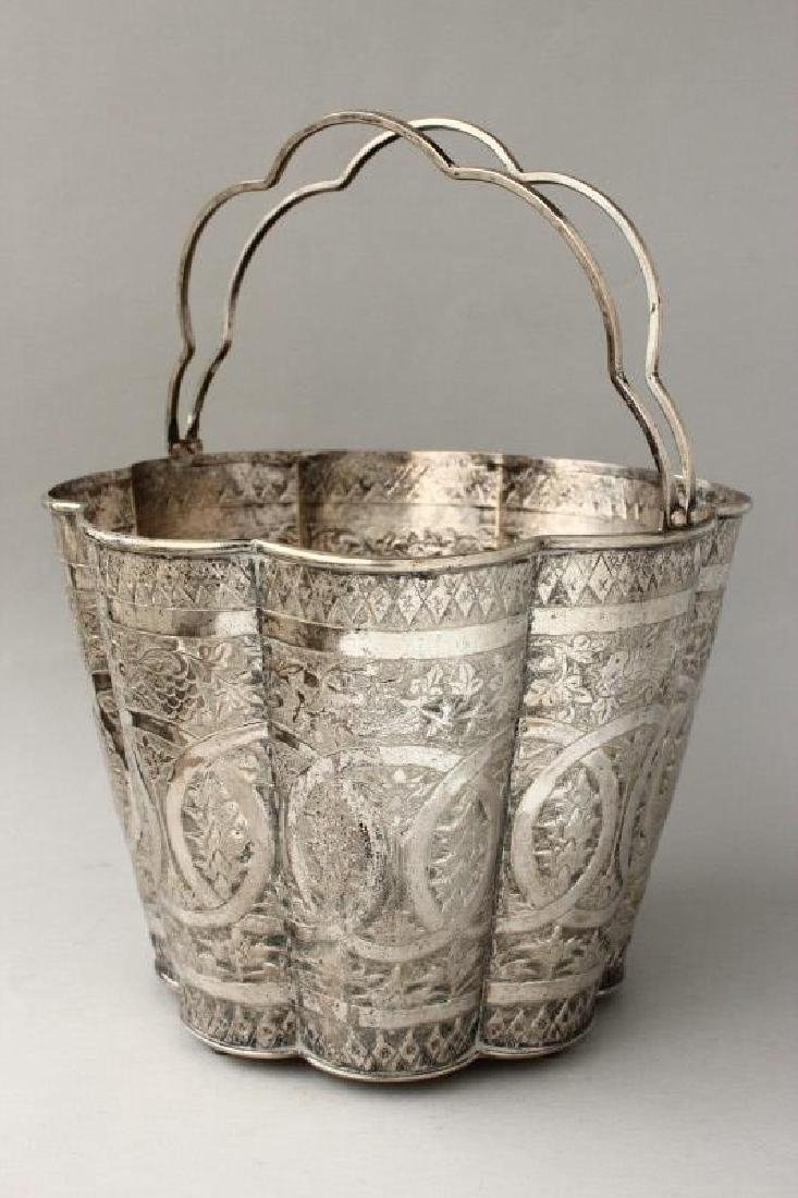 Large Chinese Silver Bucket,
