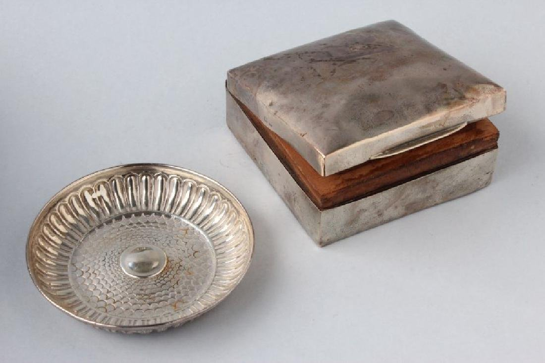 Edwardian Sterling Silver Box and Cover, together