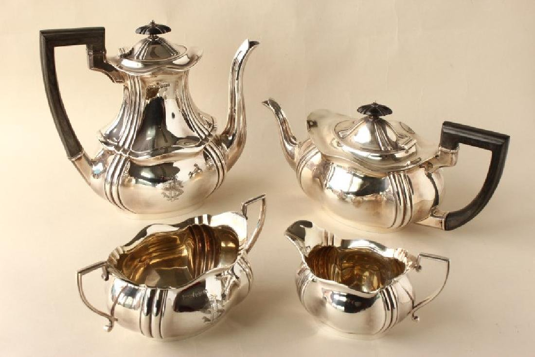 Edwardian Four Piece Sterling Silver Tea and