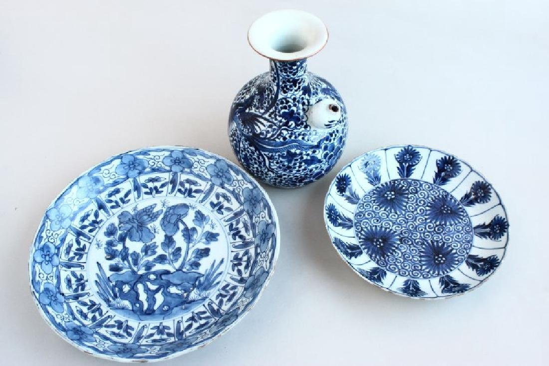 Three Chinese Qing Dynasty, Kangxi Period Blue and