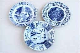 Three Chinese Qing Dynasty Blue  White