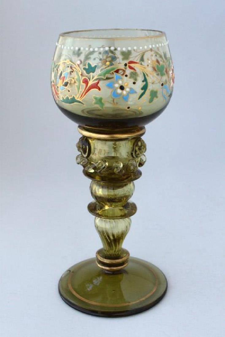 Moser Green Glass and Enamel Goblet,