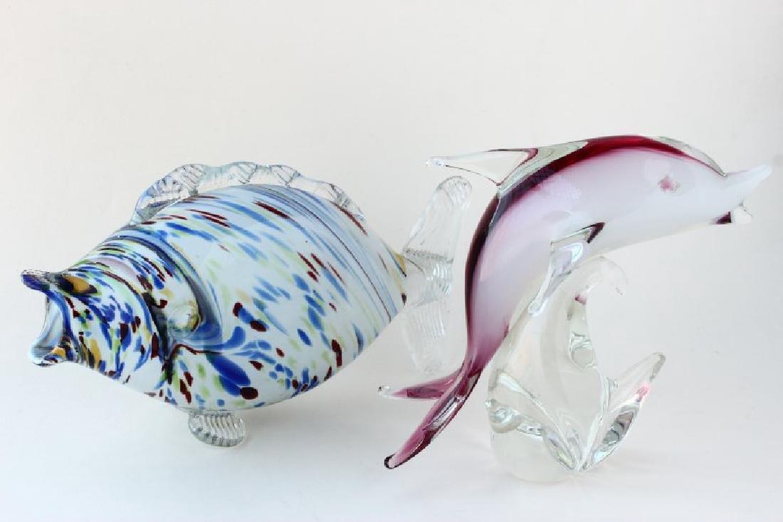 Two Art Studio Glass Fish,