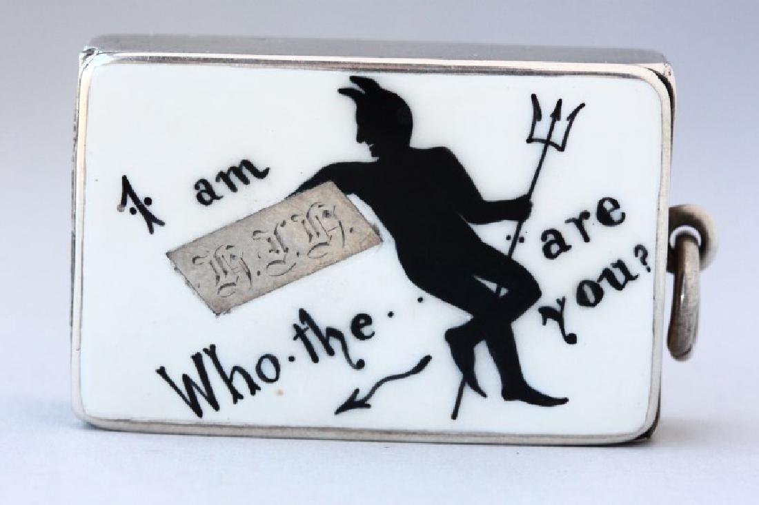 Victorian Sterling Silver and Enamel Vesta Case,