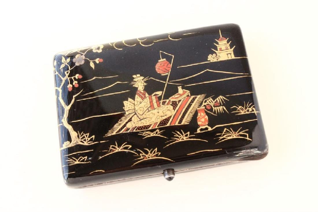 Heavy Sterling Silver and Enamel Ladies Compact, - 2