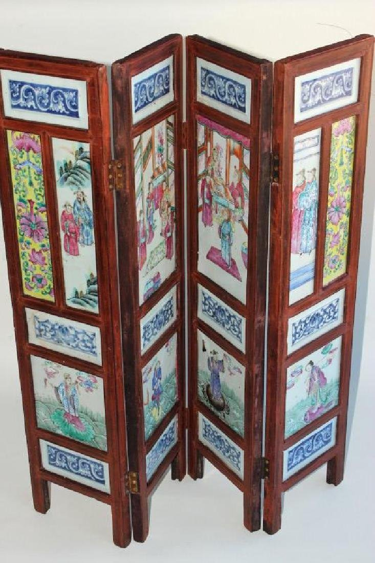 Chinese Qing Dynasty Four Panel Porcelain Famille