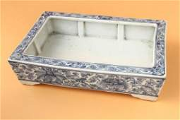Chinese Late Qing Dynasty Blue  White Porcelain