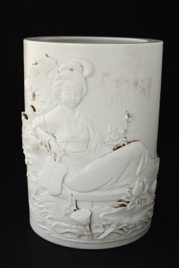 Chinese Bisque Porcelain Brush Pot,