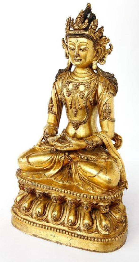 Good Chinese Gilt Bronze Buddha,