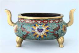 Chinese Cloisonne Twin Handled Censer
