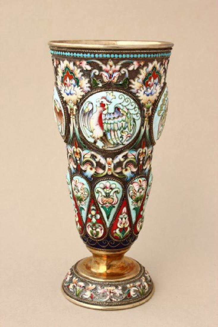 Fine and Rare Russian Silver and Enamel Pedestal