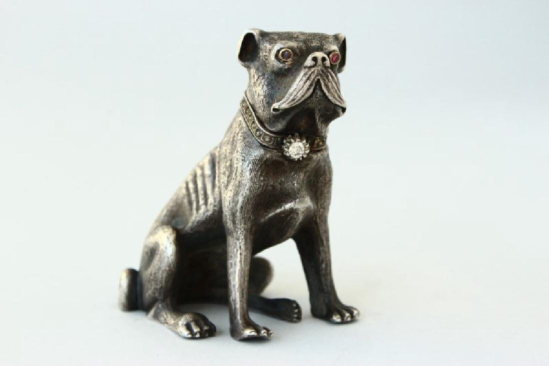 Rare Russian Silver, Diamond and Ruby Dog,