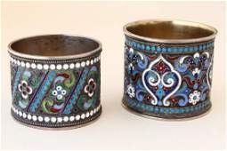 Two Russian Silver and Enamel Napkin Rings