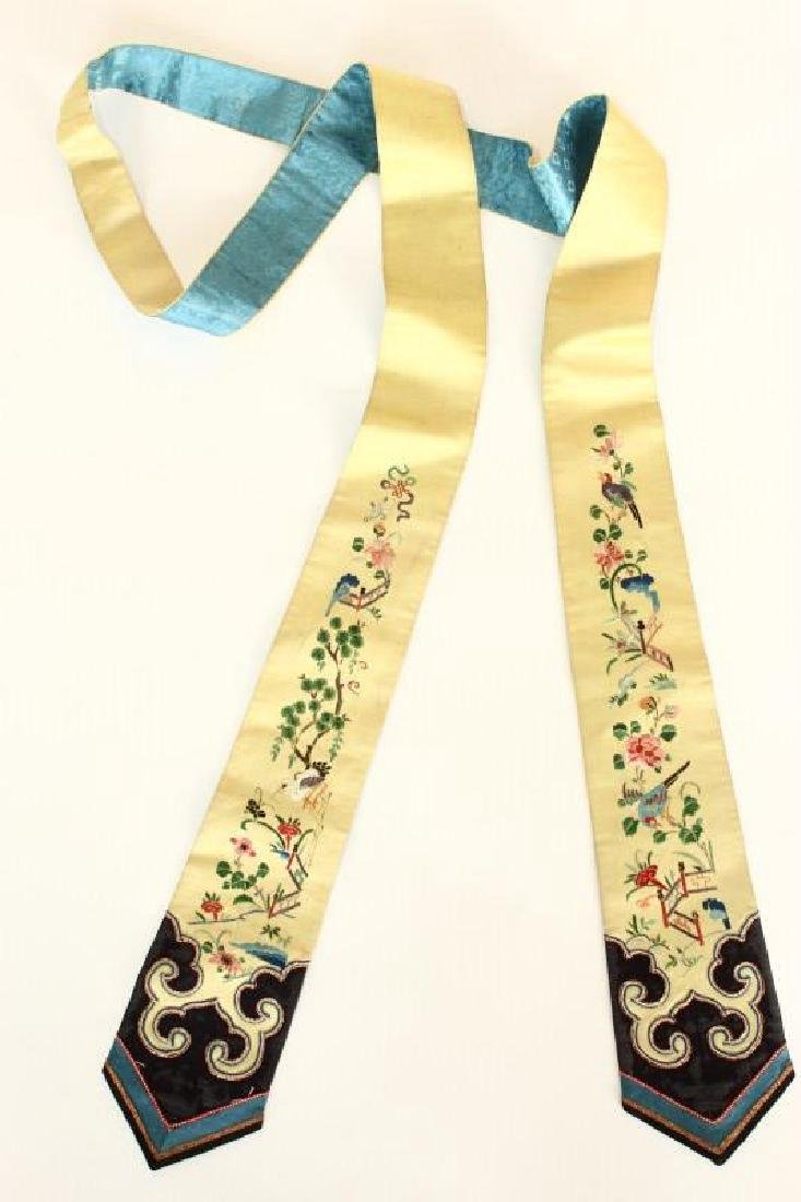 Chinese Silk and Embroidered Belt/Tassel,