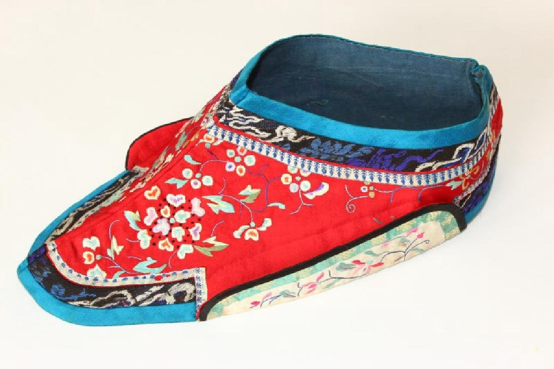 Chinese Silk and Embroidered Wind Hat, - 2