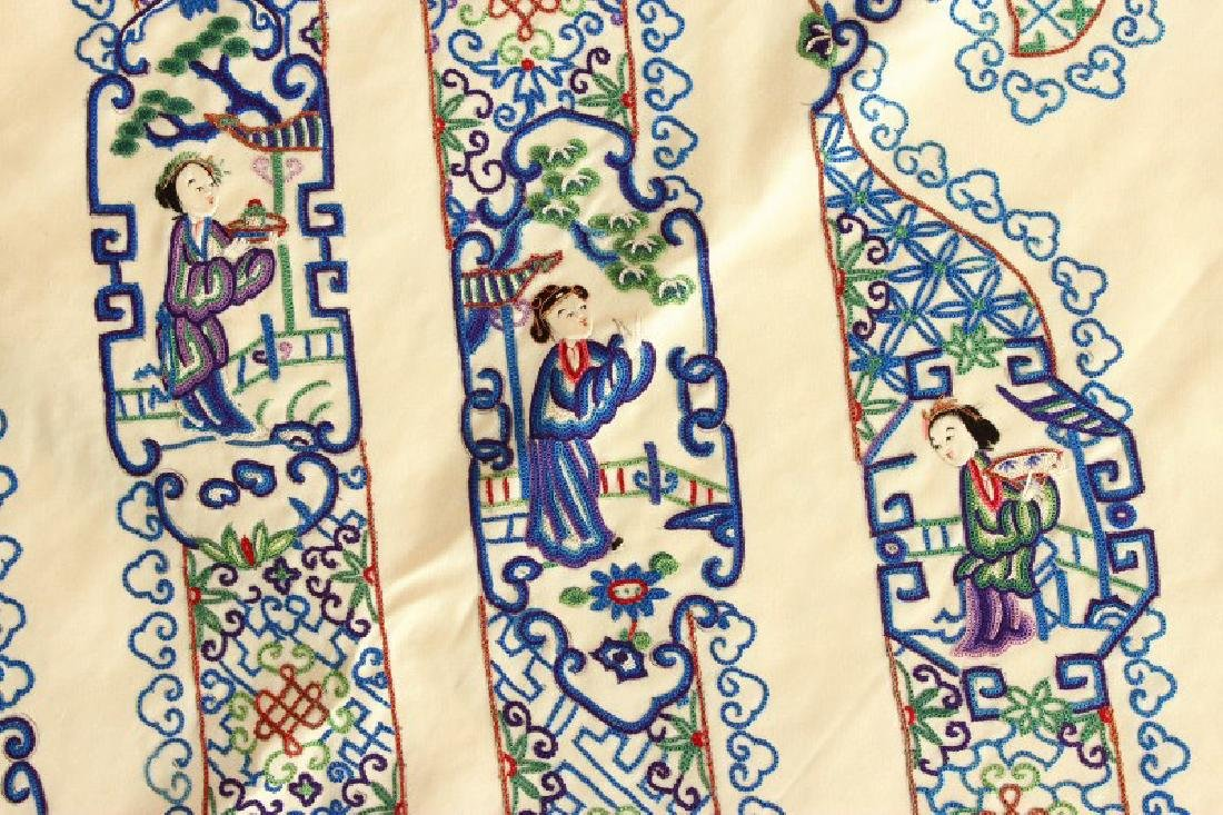 Chinese Late Qing Dynasty Embroidered Panel, - 2