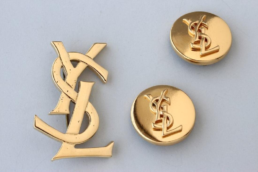 YSL Gilt Brooch and Clip Earrings, with Bag,