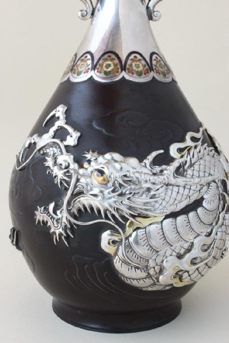 Exceptional Japanese Bronze, Silver and Enamel - 2