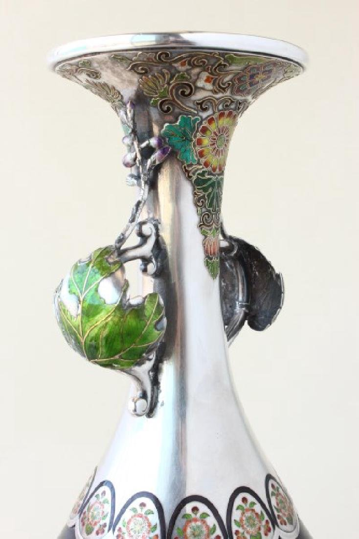 Exceptional Japanese Bronze, Silver and Enamel - 5