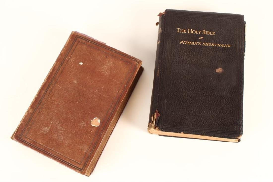 Two Leather Bound 19th Century Bibles,