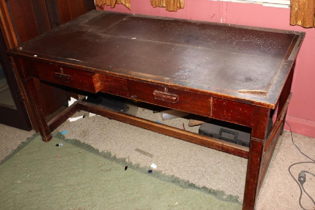 Leather Inlaid Desk,