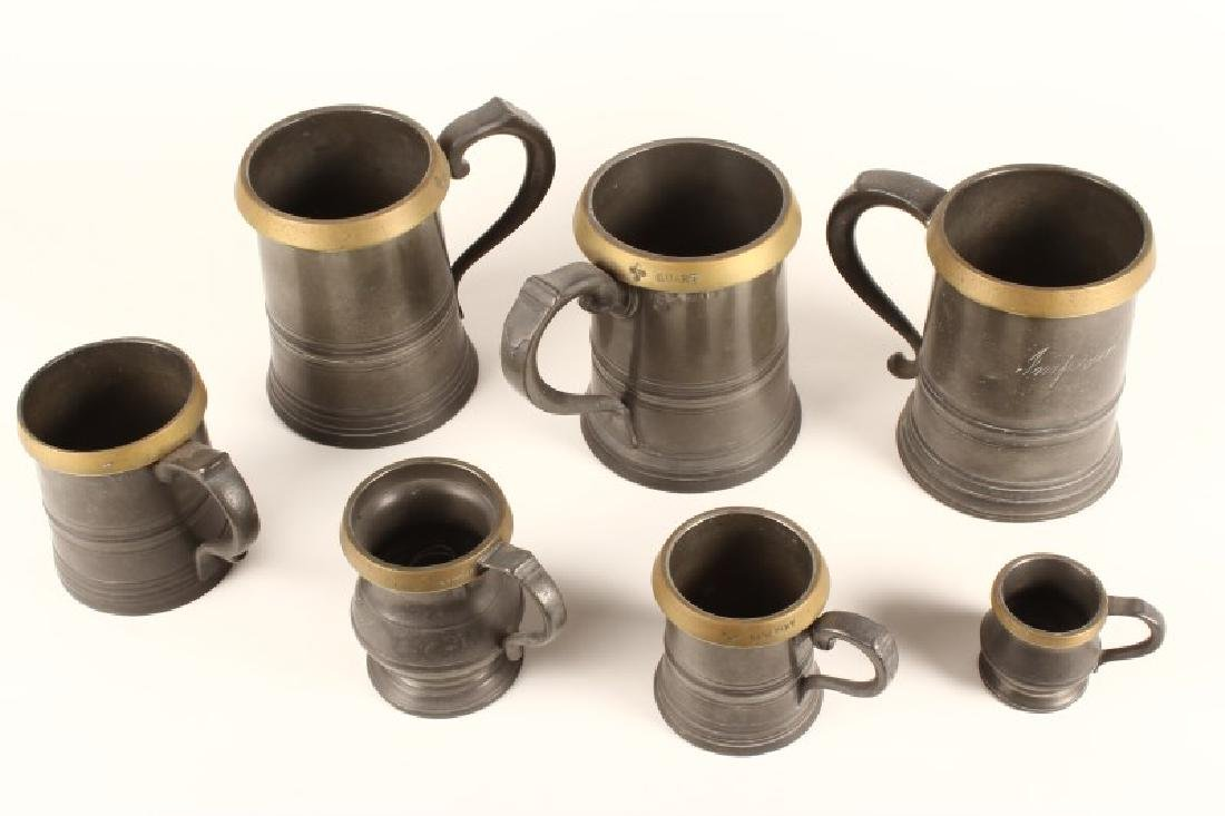 Wonderful Set of Five 18th Century Pewter Tankards