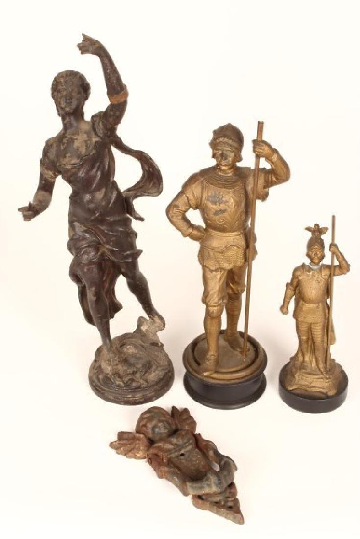 Three Edwardian Speltre Figures,