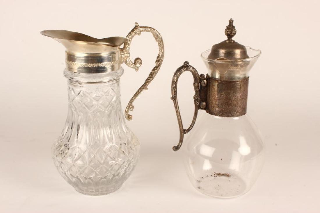 Two Glass and Silver Plate Ewers,
