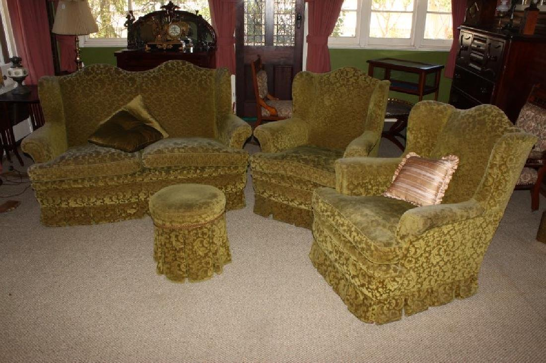 Three Piece Lounge Suite and Ottoman