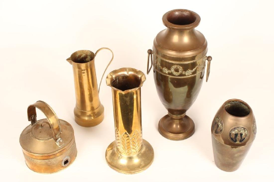 Two Trench Brass Vases,