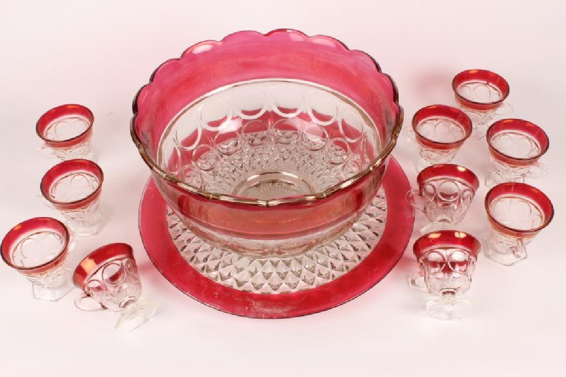 Ruby Flashed Glass Punch Set,